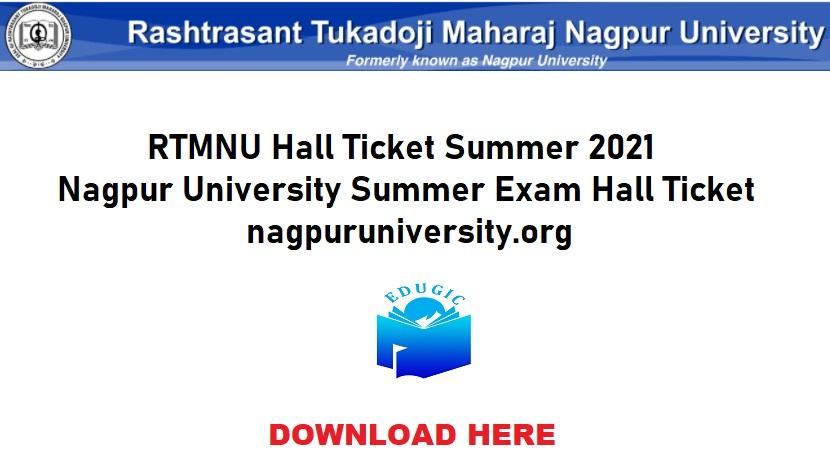 RTMNU Hall Ticket Summer 2021