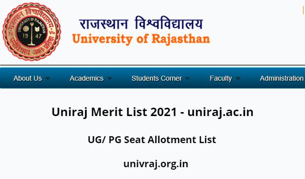 Uniraj Merit List 2021 - uniraj.ac.in