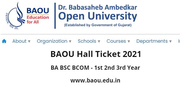 BAOU Hall Ticket 2021