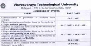 VTU Exam Application Form 2021
