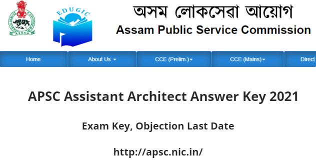 APSC Assistant Architect Answer Key 2021