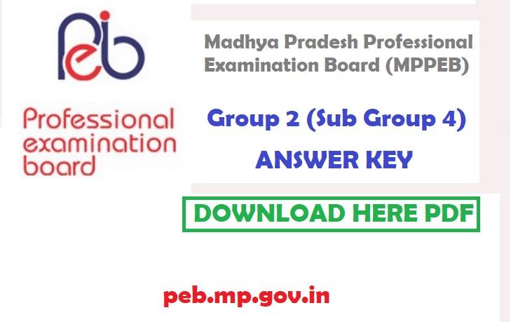 MPPEB Group 2 Sub Group 4 Answer Key 2021