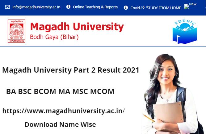 Magadh University Part 2 Result 2021