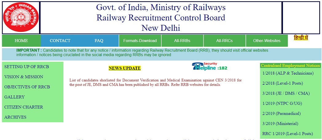 RRB Ministerial Isolated Result 2021