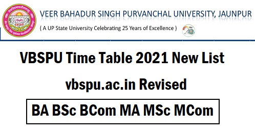 VBSPU Time Table 2021 New List