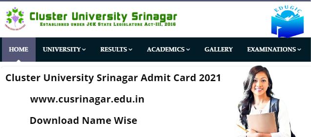 www.cusrinagar.edu.in admit card download 2021
