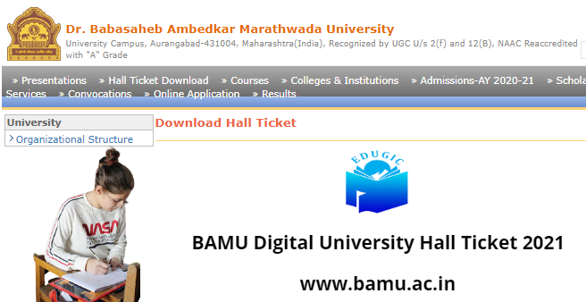 BAMU Digital University Hall Ticket 2021