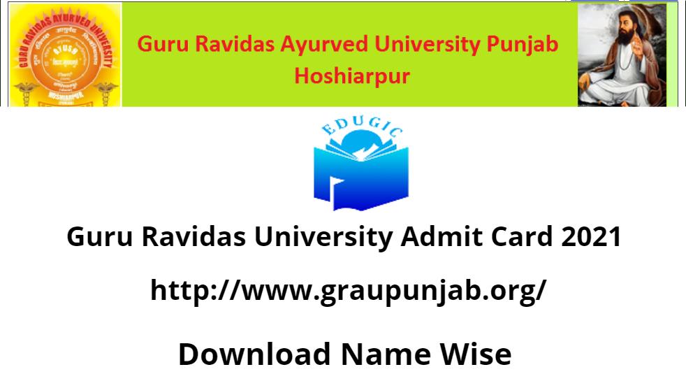 Guru Ravidas University Admit Card 2021