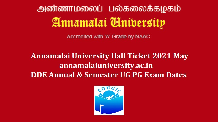 Annamalai University Hall Ticket 2021