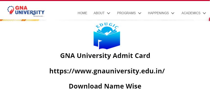 GNA University Admit Card 2021