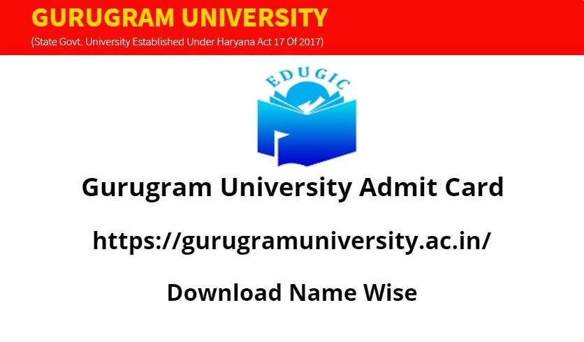 Gurugram University Admit Card 2021