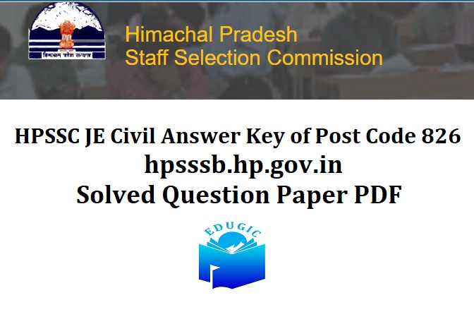 HPSSC JE Civil Answer Key of Post Code 826