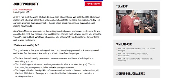 KFC Part Time Jobs for Students