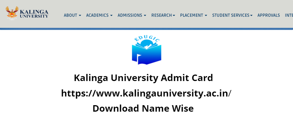 Kalinga University Admit Card 2021