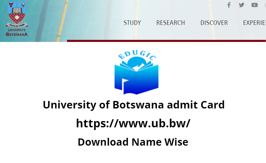 University of Botswana admit Card 2021