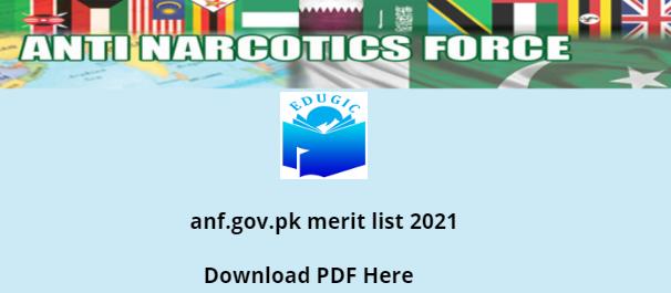 anf.gov.pk merit list 2021