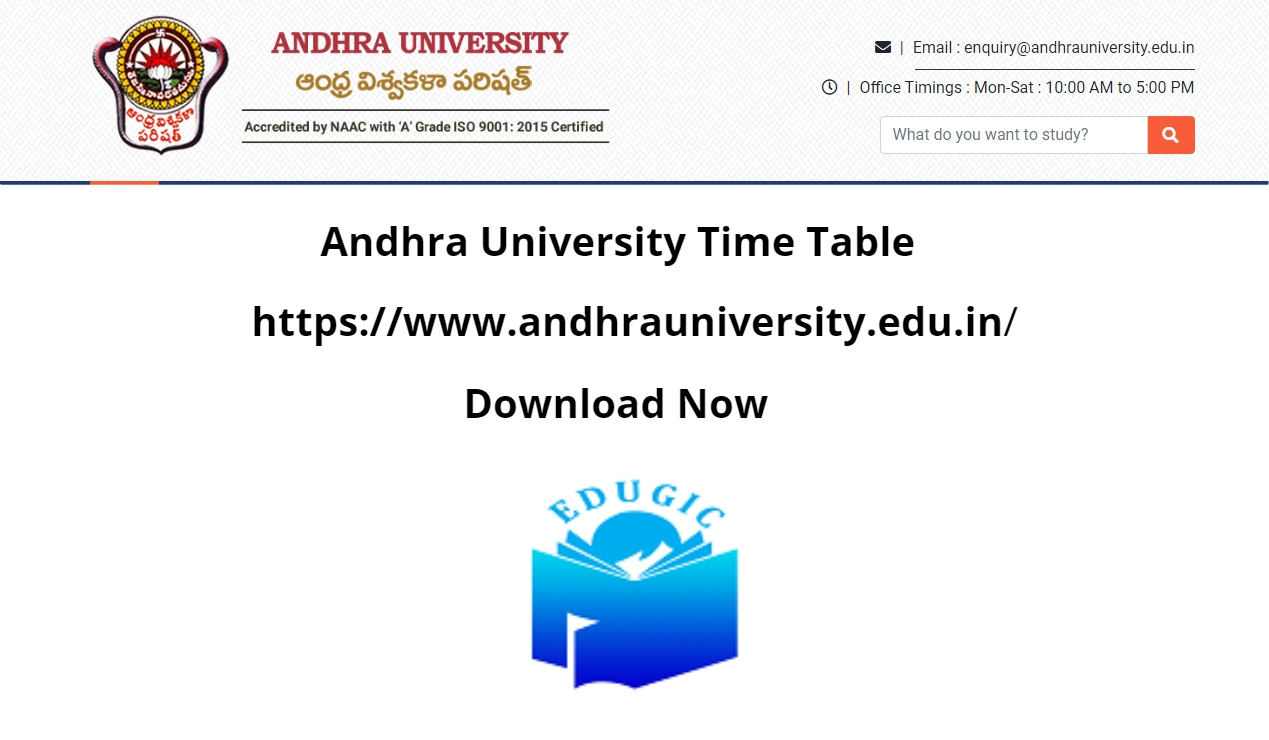 Andhra University Time Table 2021