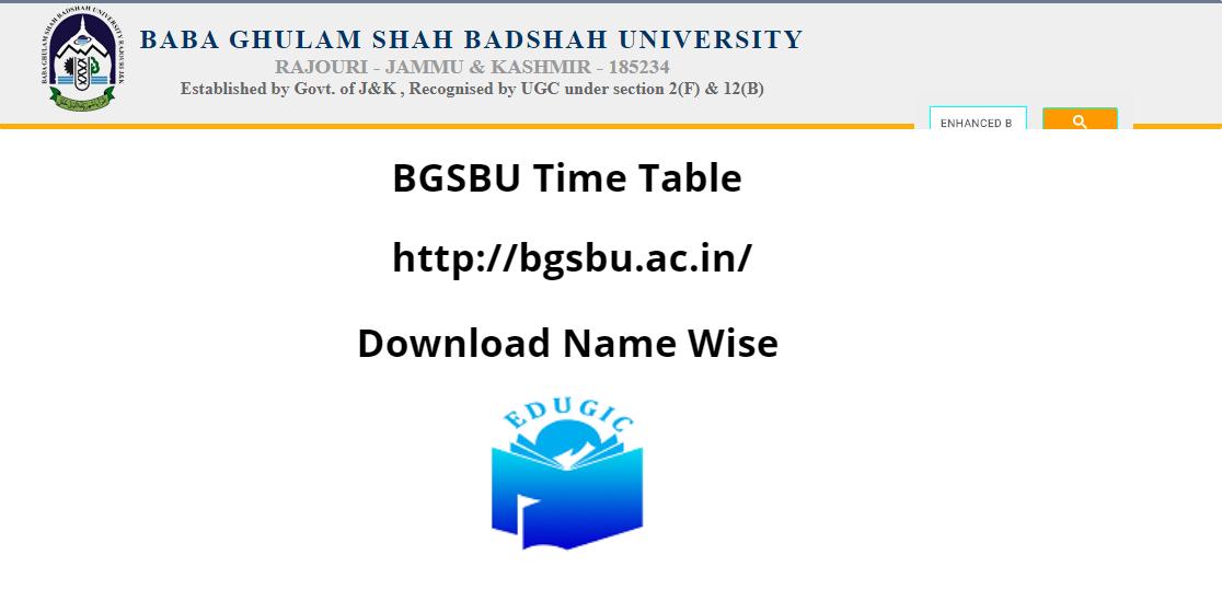 BGSBU Time Table 2021