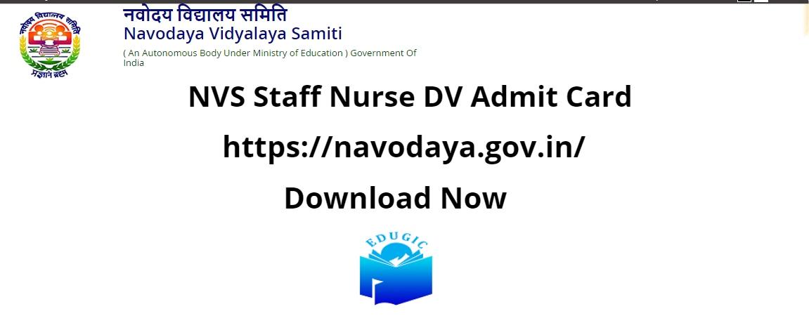 NVS Staff Nurse DV Admit Card 2021