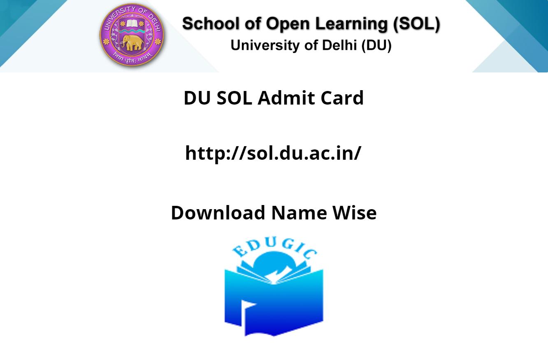 DU SOL Admit Card 2021