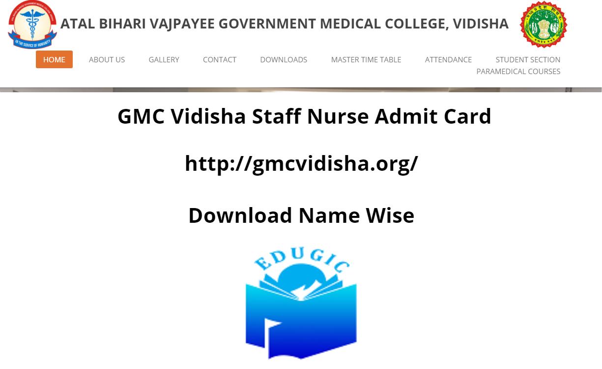 GMC Vidisha Staff Nurse Admit Card 2021